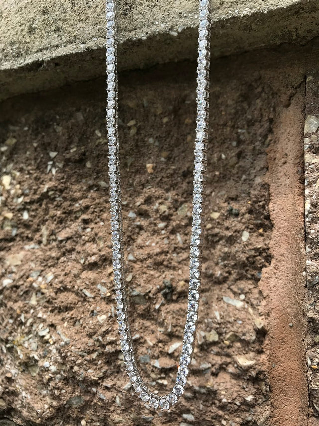 Diamond Tennis Chain - Sterling Silver - Gold X