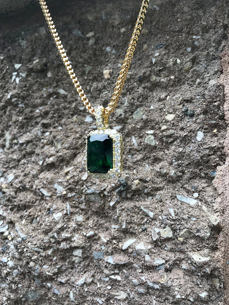 Mini Emerald Pendant w/ Diamonds - Gold X