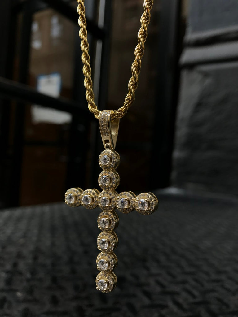 Diamond Studded Micro Cross Pendant - Gold X