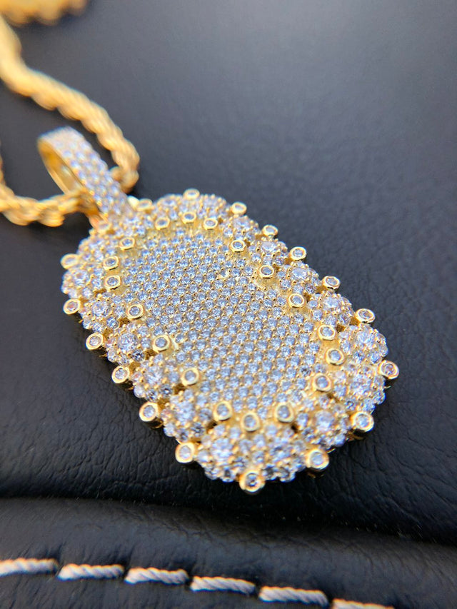 Diamond Encrusted Bezel Dog Tag Pendant - Gold X