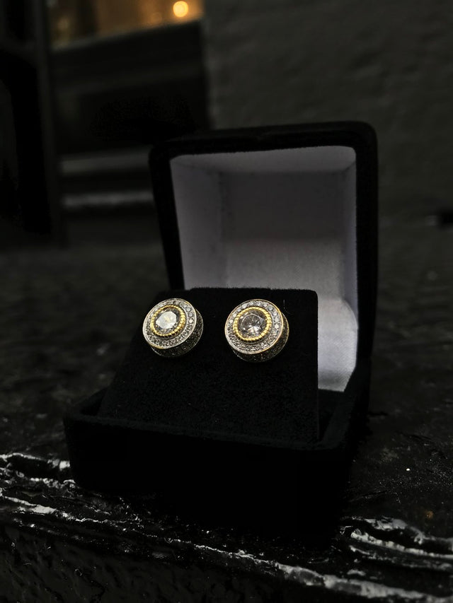 Small Size Round Bezel Diamond Earrings - Vermeil - Gold X