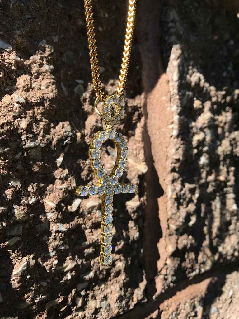 Ankh Diamond Cross - Franco Chain - Gold X