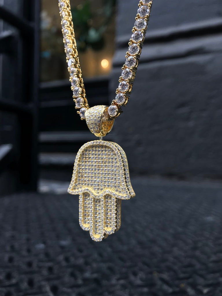 Full Size Hamsa Pendant w/ Diamond Tennis Chain - Vermeil - Gold X