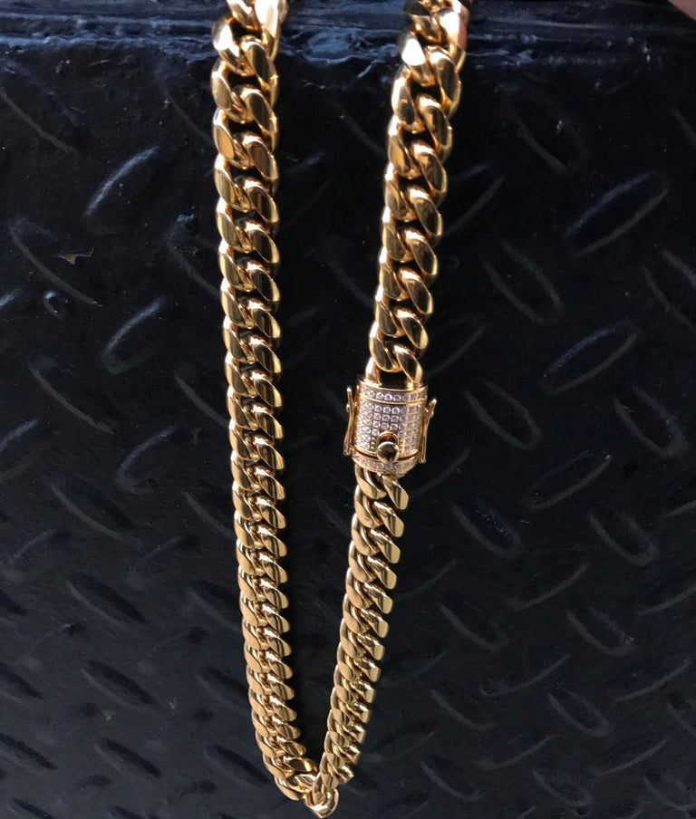 14MM Cuban Link Chain w/ Diamond Clasp - Gold X