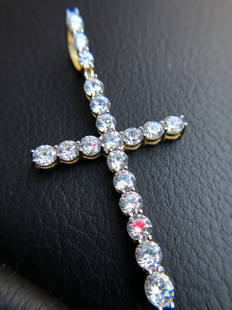 Diamond Cross with Matching Tennis Chain - 14K Gold - Gold X