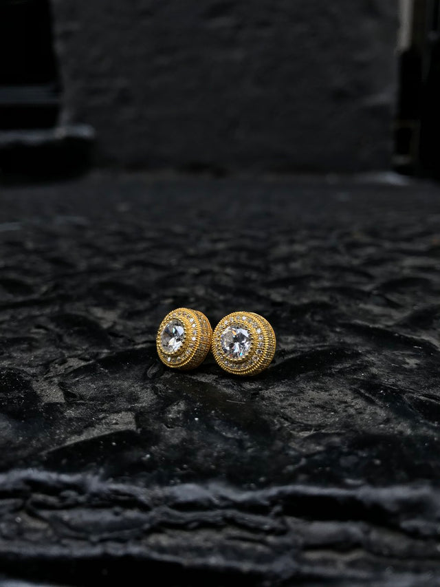 Mid-Size Round Bezel Diamond Earrings - Vermeil - Gold X