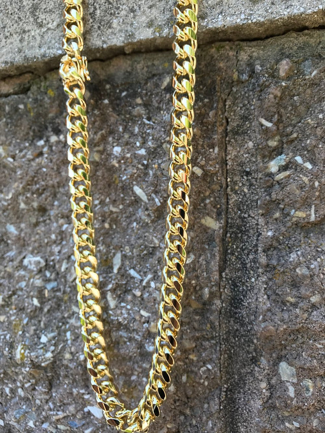 Miami Design Cuban Chain - 14K Gold Plated (10MM) - Gold X