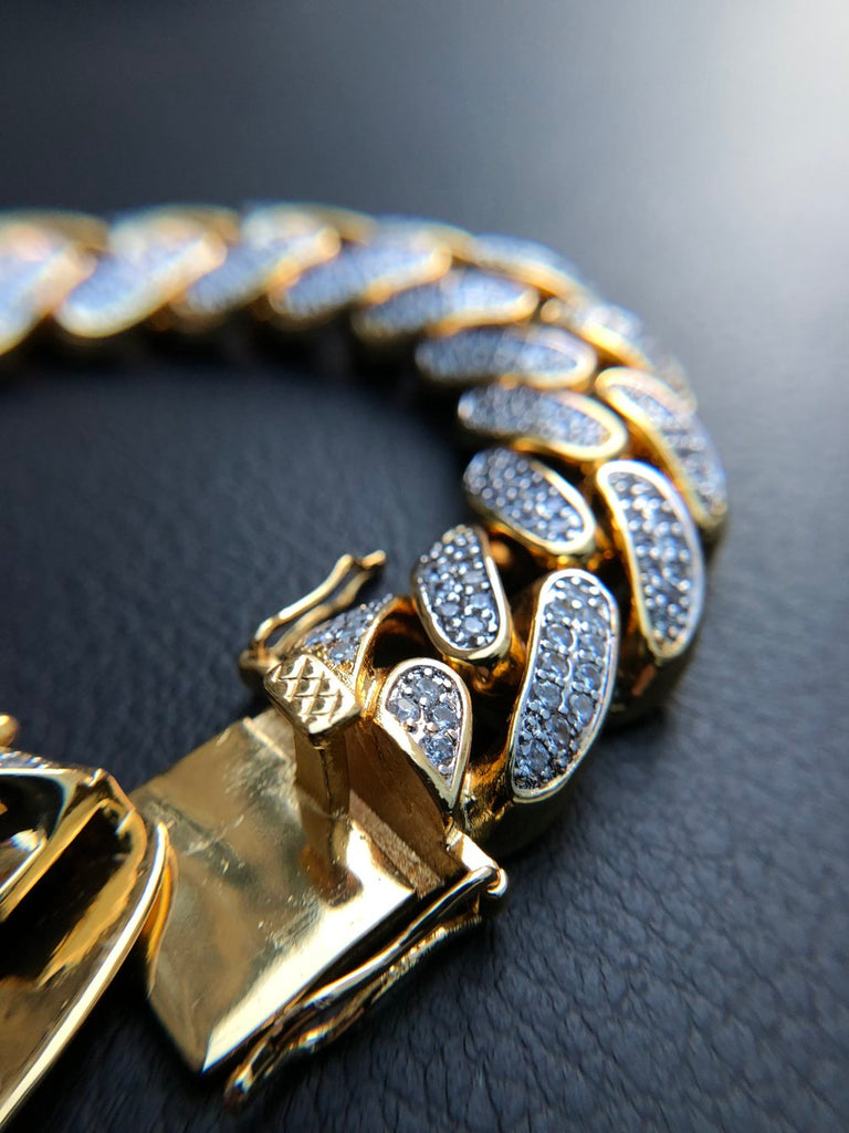 19MM Iced Out Miami Cuban Bracelet - 14K Gold Filled - Gold X