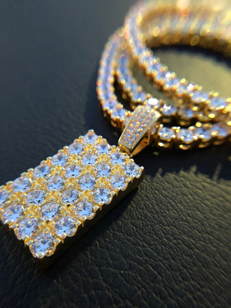 Mini Diamond Brick Pendant w/ Diamond Tennis Chain - Gold X