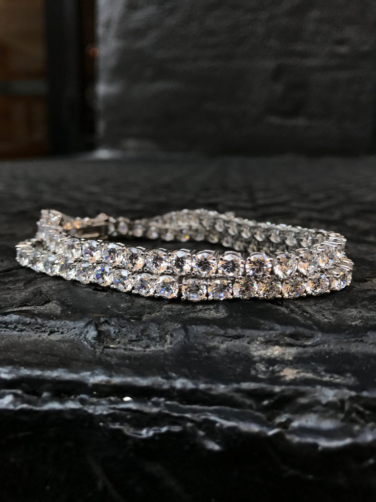 Diamond Tennis Bracelet - Sterling Silver (double set) - Gold X