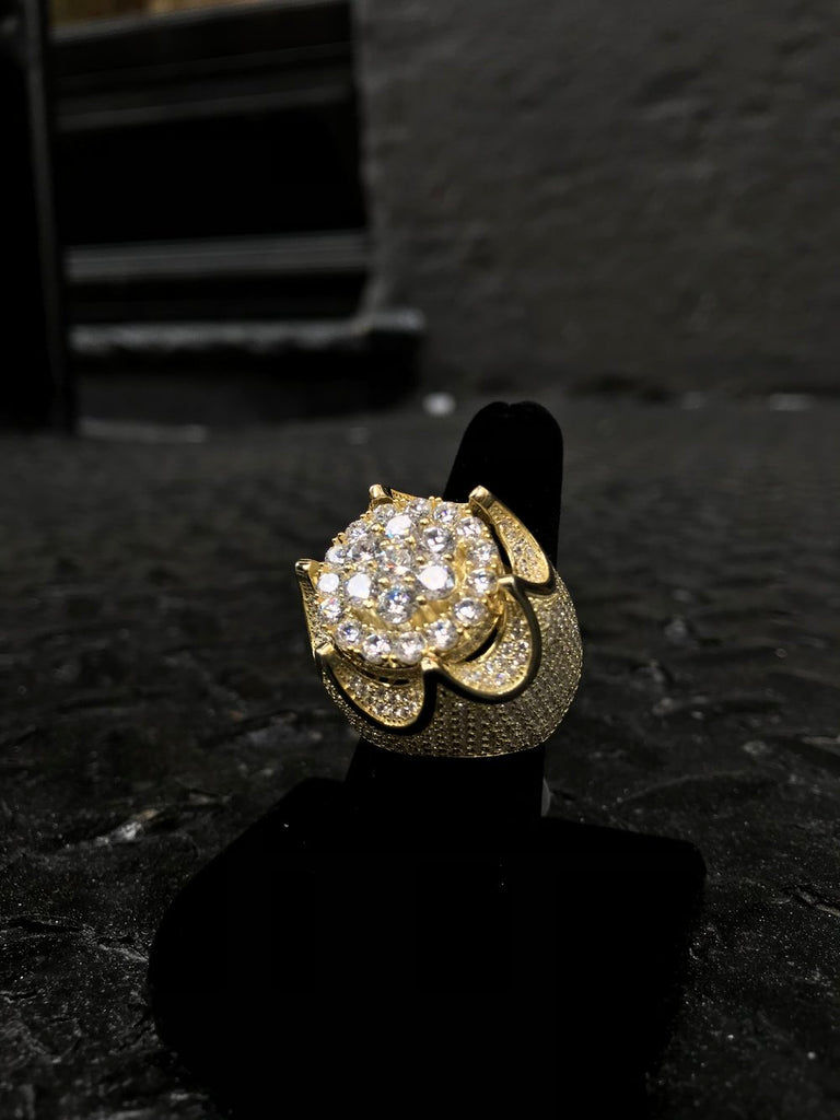 Crown Diamond Flooded Pinky Ring - Gold - Gold X
