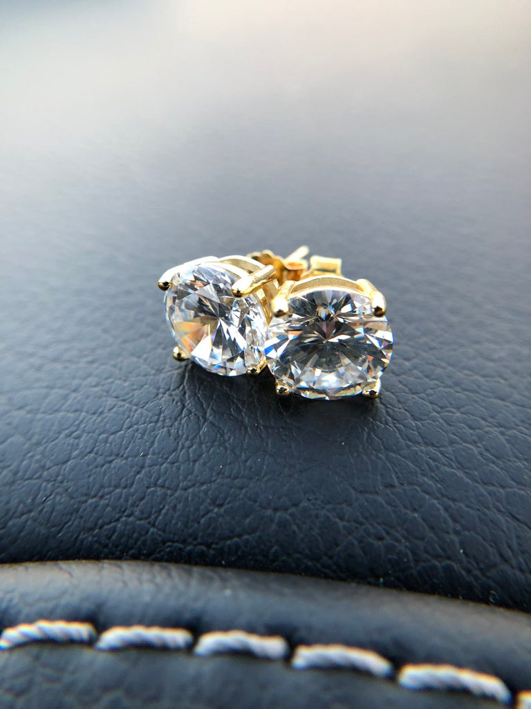 2 Carat Stud Diamond Earrings - Vermeil - Gold X
