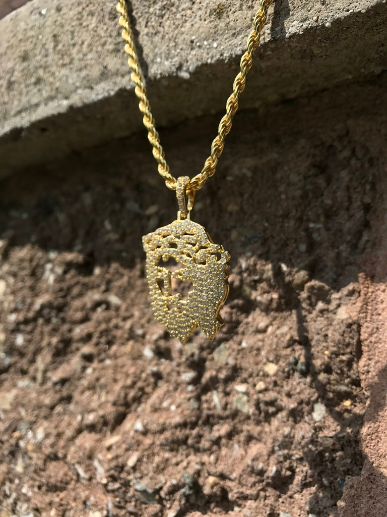 Iced Jesus Silhouette Pendant - Gold X