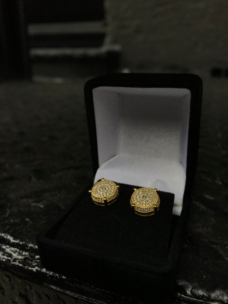Round Plate Design Diamond Earrings - Vermeil - Gold X