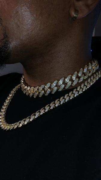 12MM Iced Out Cuban Link Chain - 14K Gold Filled - Gold X