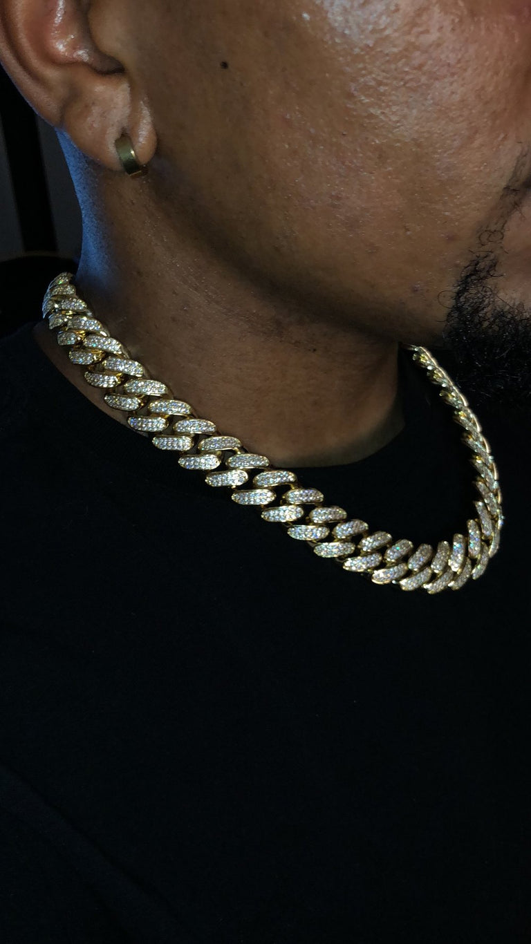 12MM & 18MM Iced Out Cuban Link Chain - ALL SIZES - Gold X