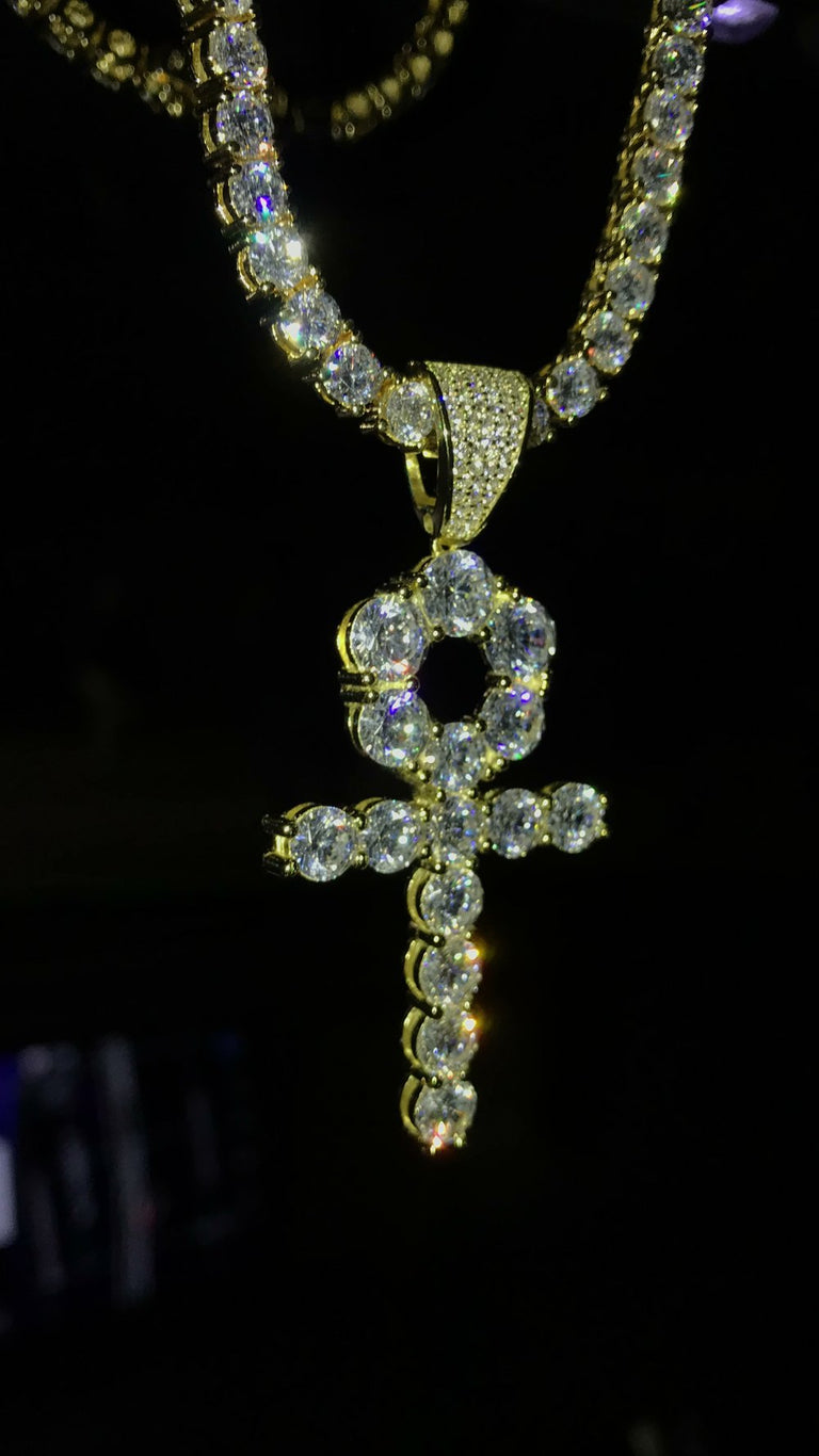 Mid Size Ankh Cross Pendant w/ Diamond Tennis Chain - Vermeil - Gold X