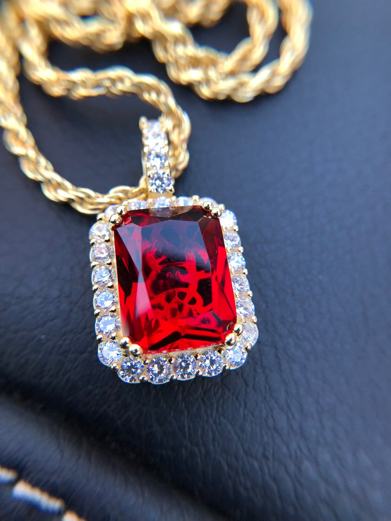 Mini Ruby Pendant w/ Diamonds - Gold X