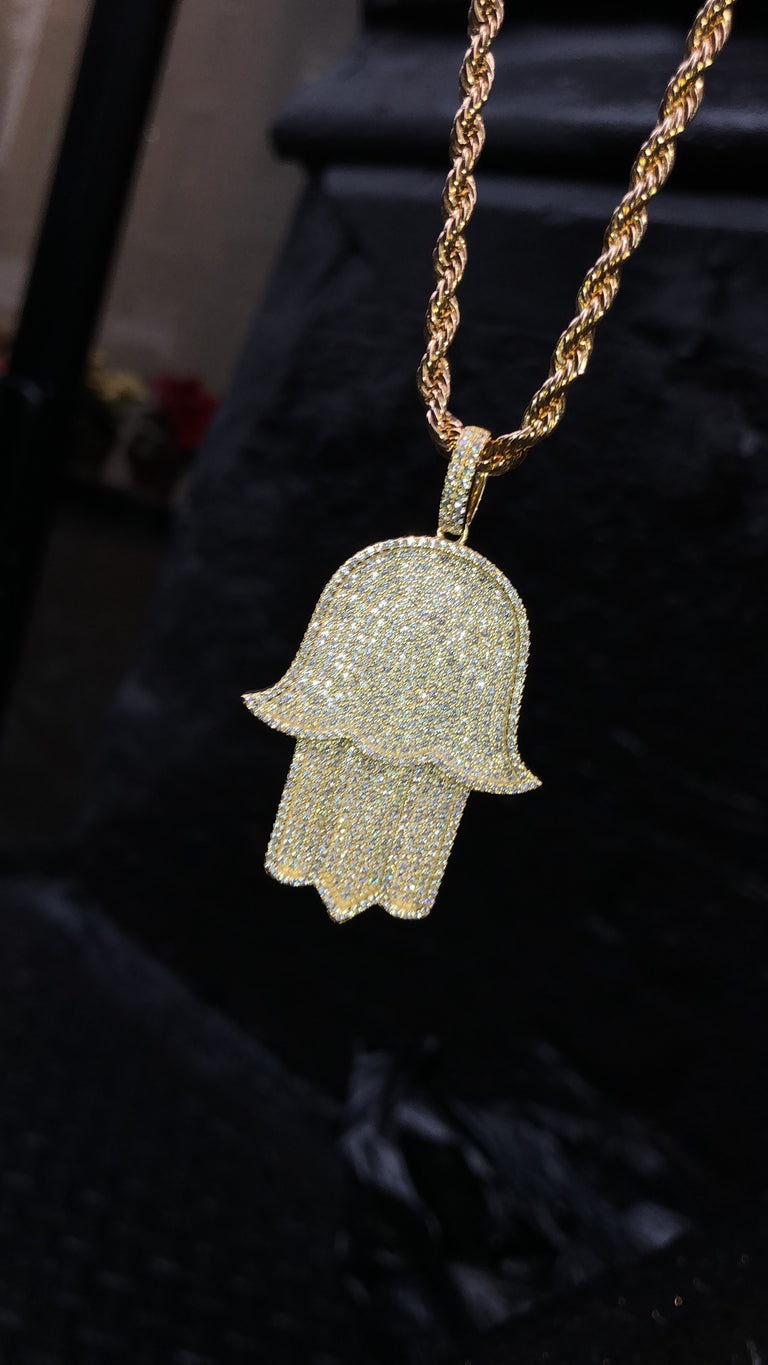 NEW STYLE - Large Curved Corners Hamsa Pendant - Gold X