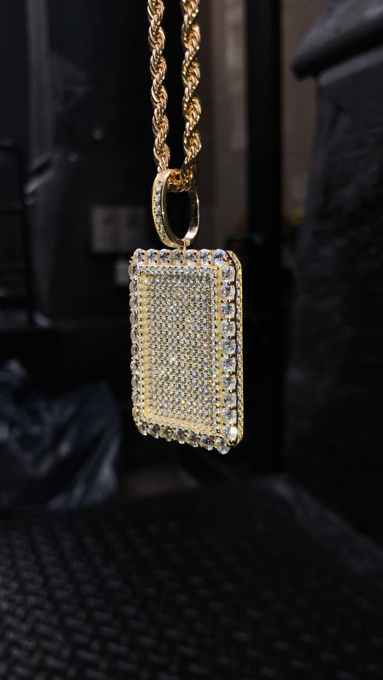 NEW STYLE - Large Dog Tag Pendant - Gold X