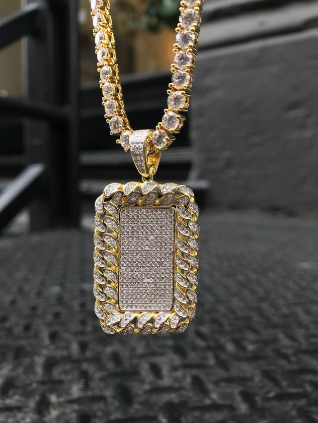 Cuban Bezel Dog Tag w/ Diamond Tennis Chain - Vermeil - Gold X