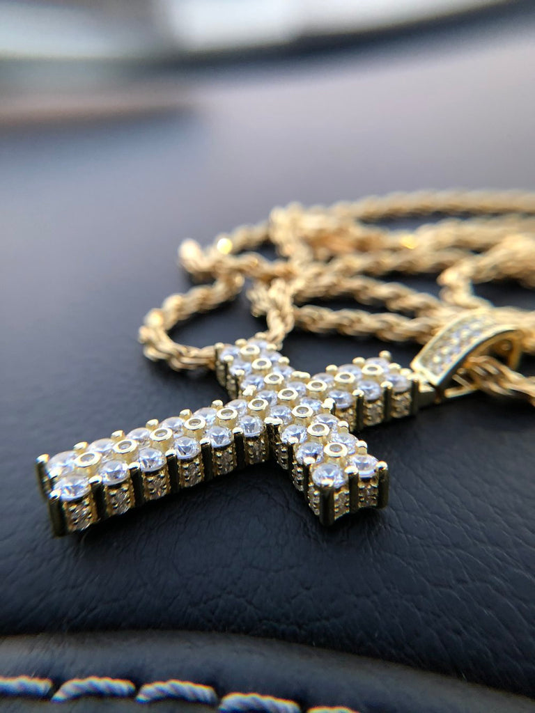 Dual Row Mini Cross Pendant - Gold X