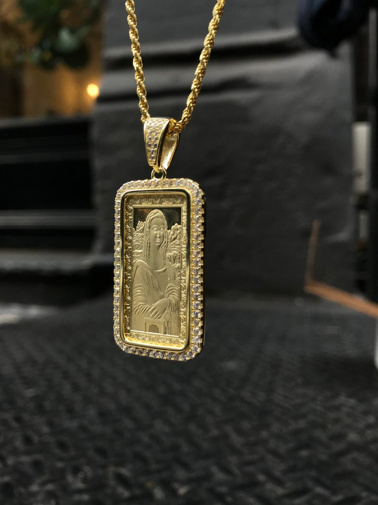 Mona Lisa Dog Tag Pendant - Gold X