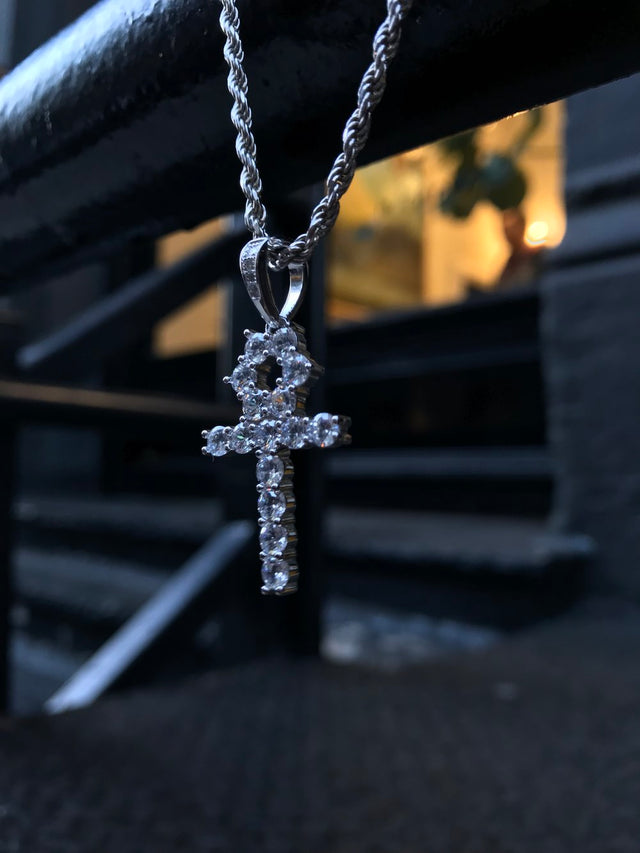 Mini Ankh Cross - Silver Pendant - Gold X