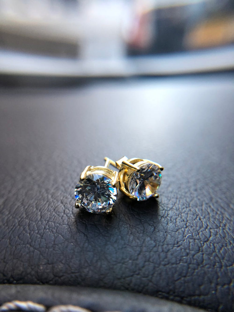 1 Carat Stud Diamond Earrings - Vermeil - Gold X