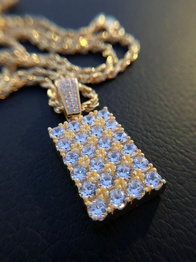 Mini Diamond Brick Pendant - Gold X