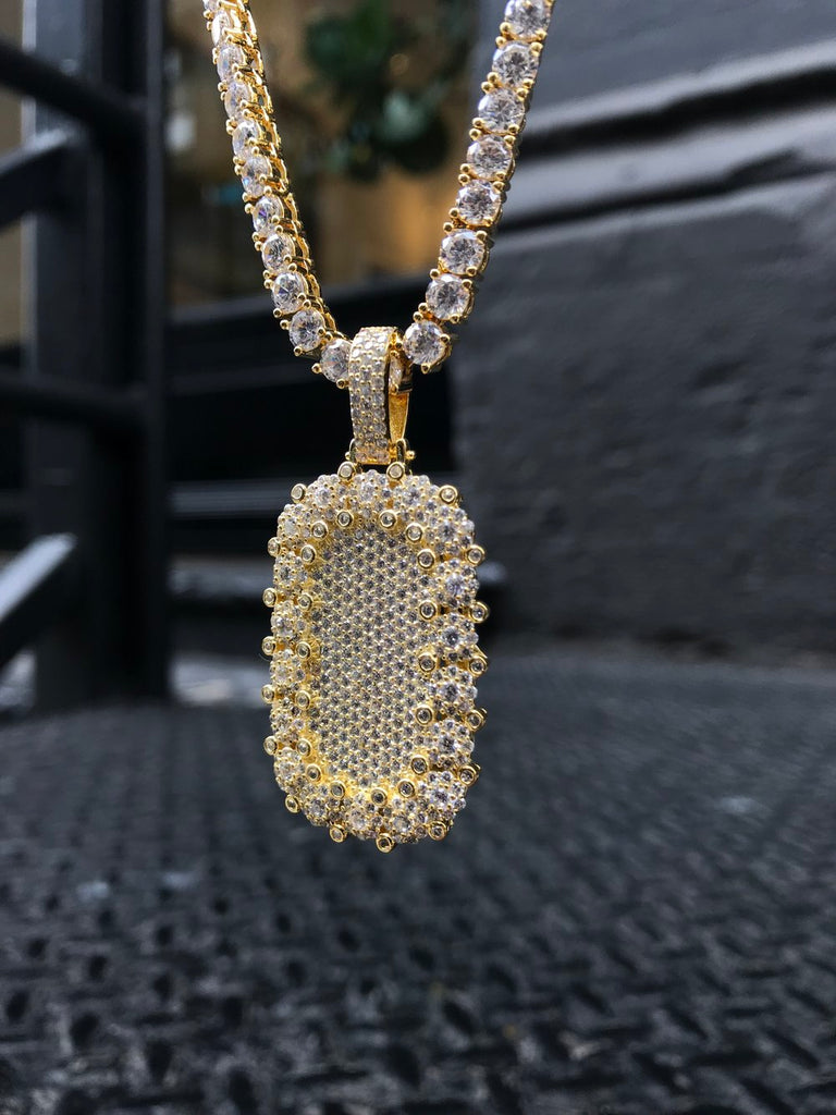 Diamond Encrusted Dog Tag w/ Diamond Tennis Chain - Vermeil - Gold X