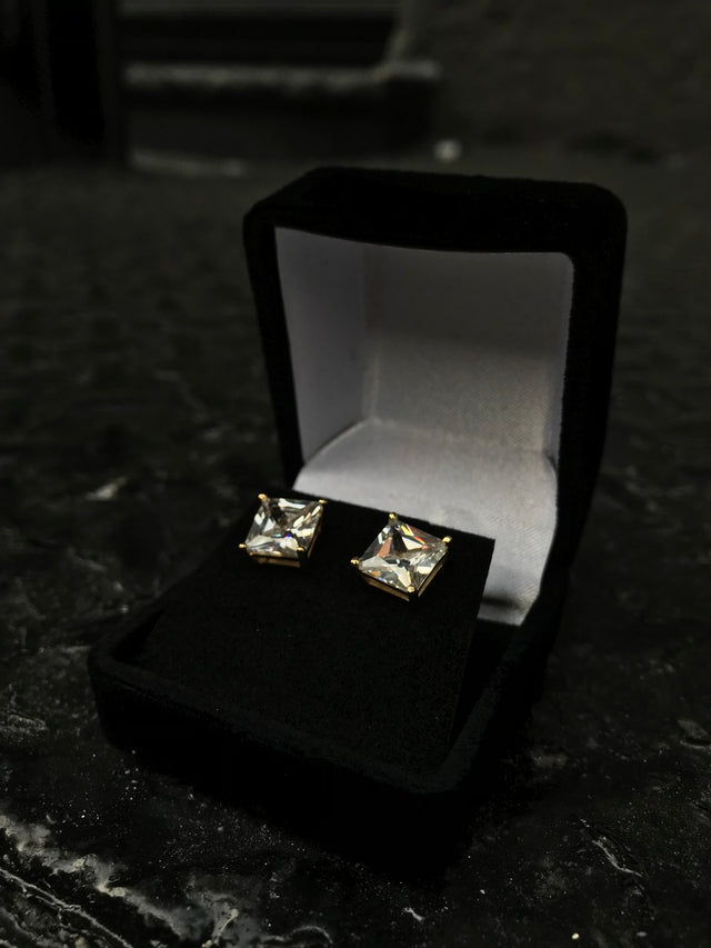 Square Style Diamond Earrings - Vermeil - Gold X