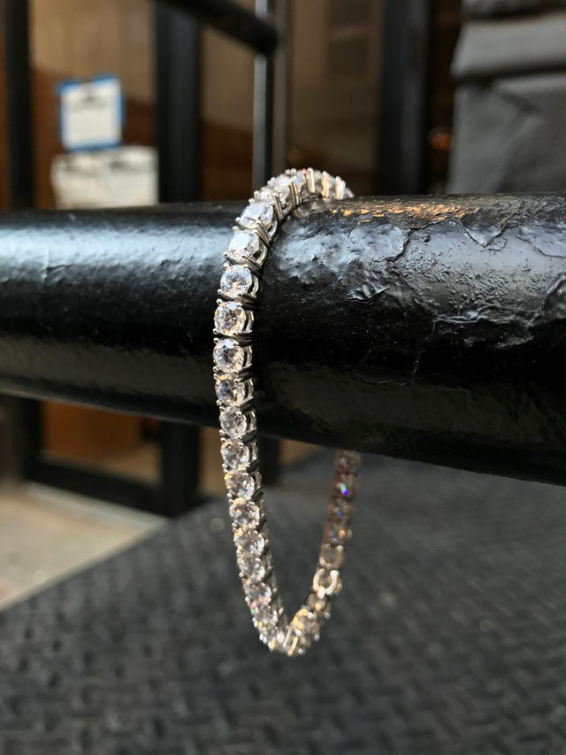 Diamond Tennis Bracelet - Sterling Silver - Gold X