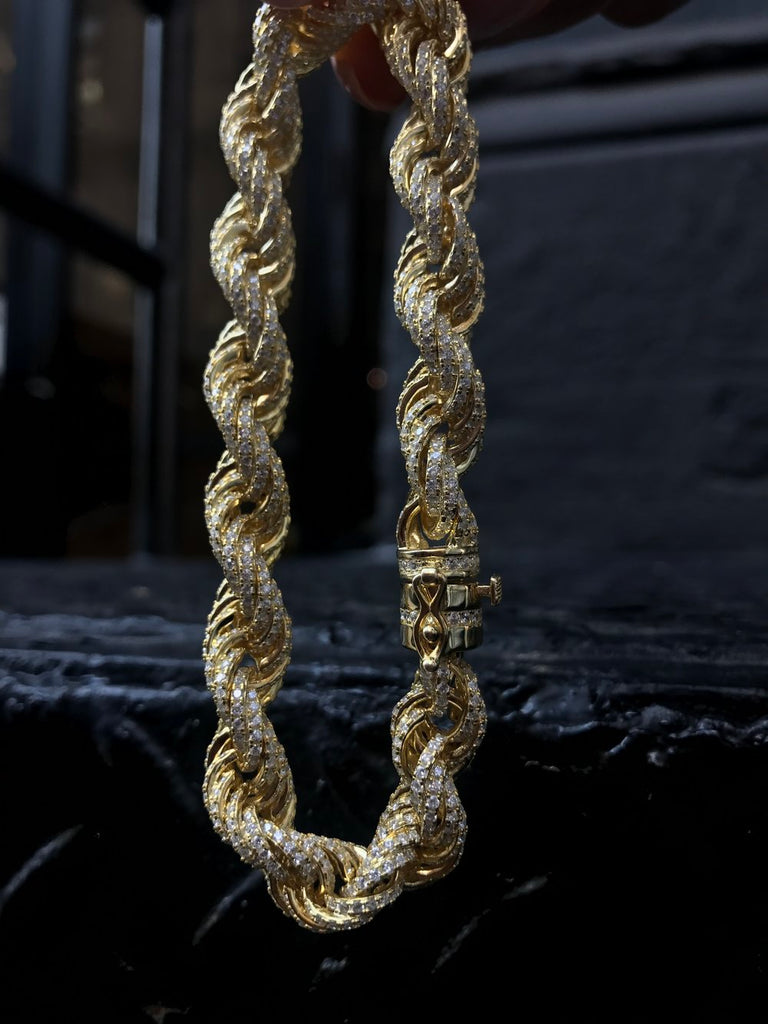Iced Out Rope Bracelet - Vermeil - Gold X
