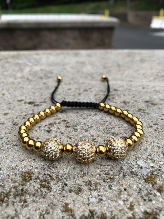 Three Globe Beaded Slider Bracelet - Gold X