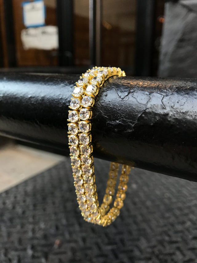 Diamond Tennis Bracelet - Vermeil (double set) - Gold X