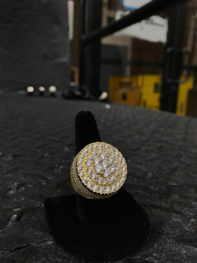 Round Style Diamond Flooded Pinky Ring - Gold - Gold X