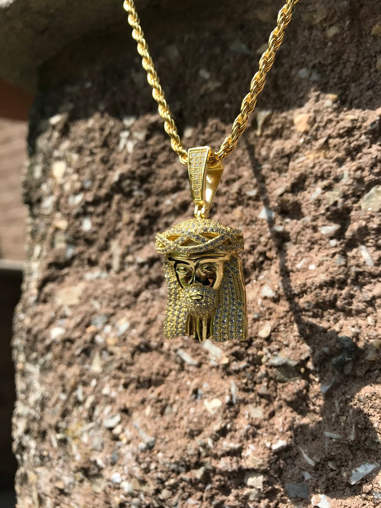 Mini Jesus Iced Out Pendant - Gold X