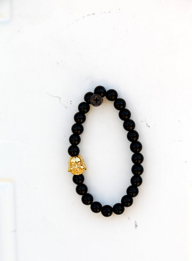 Gloss Black Buddha Inspired Bead Bracelet - Gold X