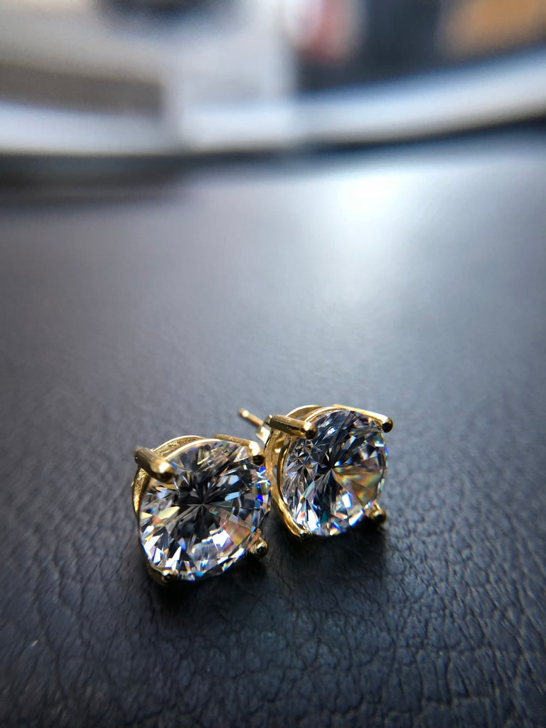 3 Carat Stud Diamond Earrings - Vermeil - Gold X