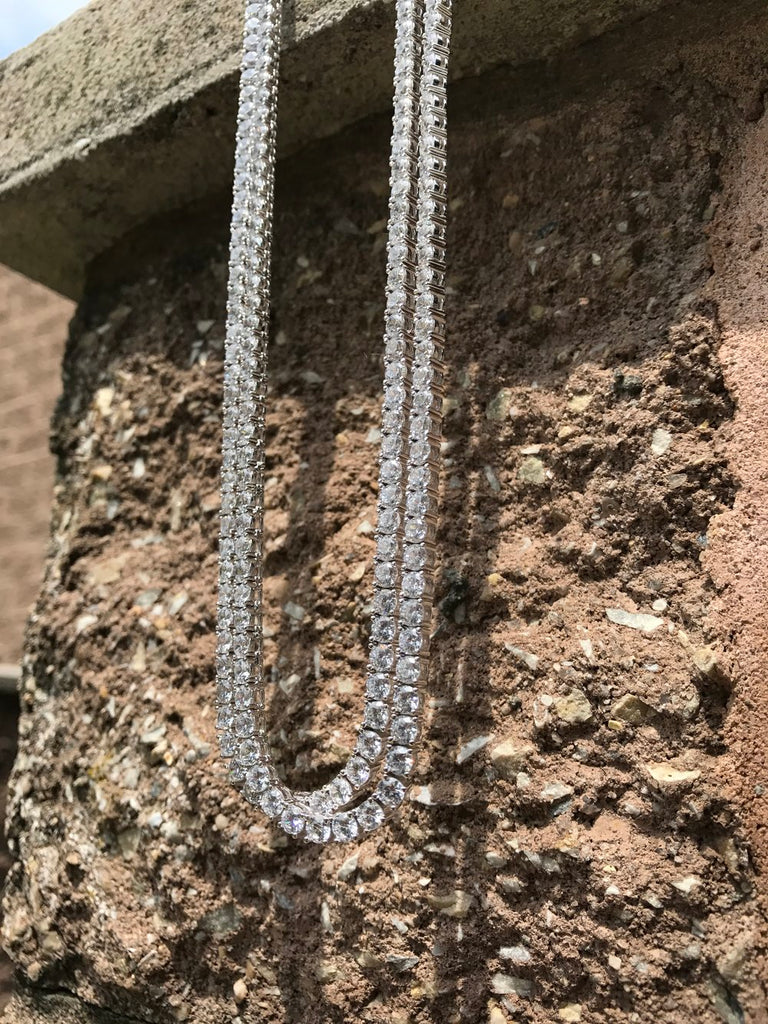 Diamond Tennis Chain - White Gold (Double Set) - Gold X
