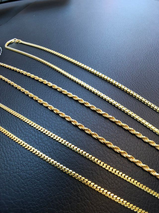 Solid 14K Vermeil - Rope, Franco or Micro Cuban - Gold X
