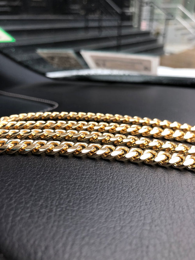 Miami Cuban Link Chain (6mm) - 14K Gold Plated - STAMPED - Gold X