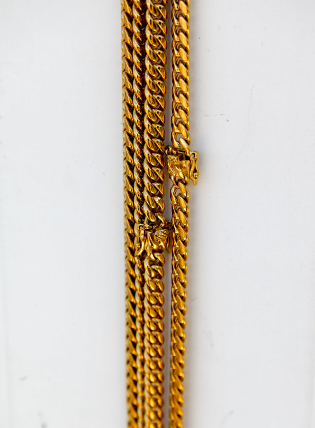 4MM Mini Cuban Link Chain (20'' - 30'') - Double Lock Clasp - Gold X