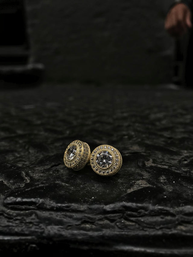 Full Size Round Bezel Diamond Earrings - Vermeil - Gold X