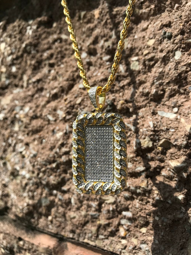 Cuban Bezel Dog Tag Pendant - Gold X