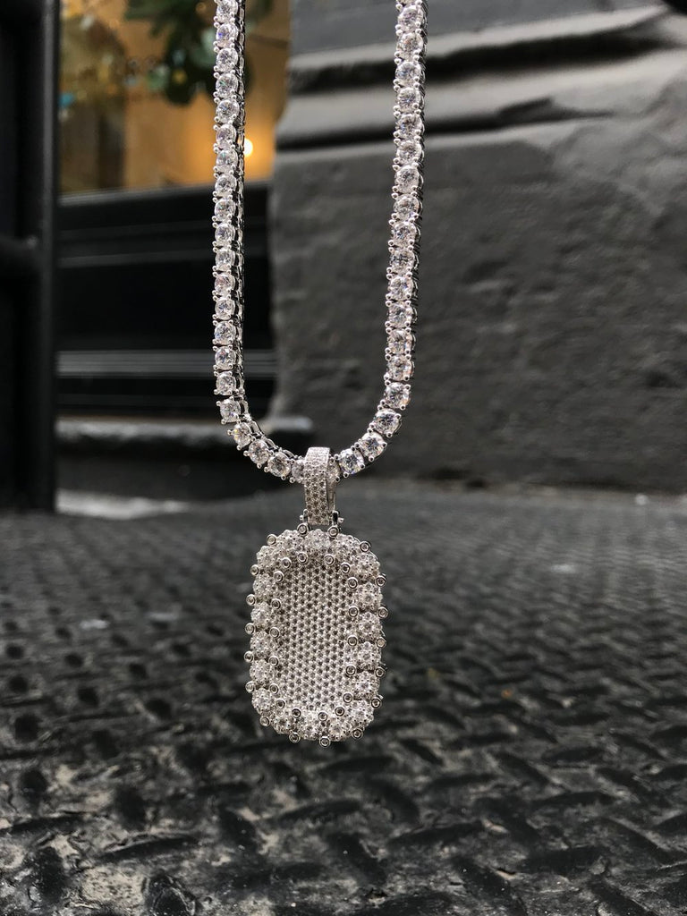 Diamond Encrusted Dog Tag w/ Diamond Tennis Chain - Sterling Silver - Gold X