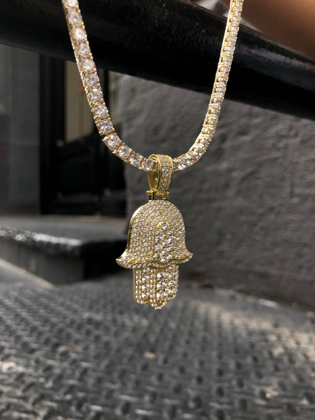 NEW STYLE Hamsa with Diamond Tennis Chain - Gold X