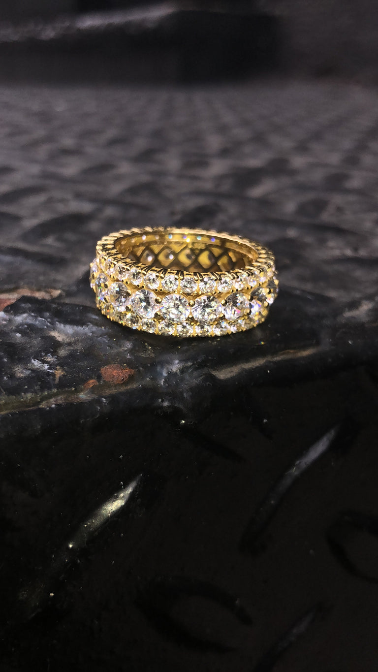 Three Layer Ring - Center Stones - 14K Vermeil - Gold X
