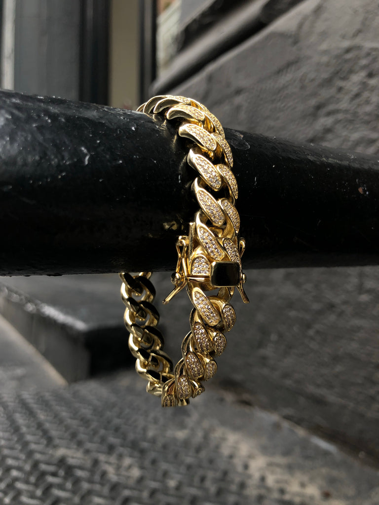 12MM Iced Out Cuban Bracelet - 14K Gold Filled - Gold X